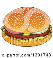 Clipart Of A Cartoon Hamburger Royalty Free Vector Illustration by Vector Tradition SM