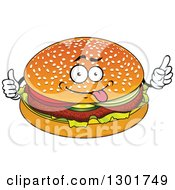 Clipart Of A Cartoon Goofy Hamburger Character Giving A Thumb Up And Pointing Royalty Free Vector Illustration