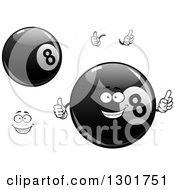 Clipart Of A Happy Face Hands And Billiards Eightballs Royalty Free Vector Illustration