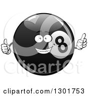 Clipart Of A Happy Billiards Eightball Character Pointing And Giving A Thumb Up Royalty Free Vector Illustration