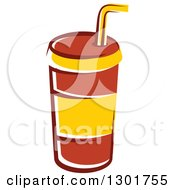 Clipart Of A Cartoon Red And Yellow Fountain Soda Cup Royalty Free Vector Illustration