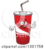 Clipart Of A Cartoon Red Fountain Soda Cup Character Holding Up A Finger Royalty Free Vector Illustration