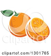 Clipart Of A Half And Whole Orange Royalty Free Vector Illustration