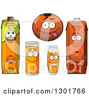 Clipart Of A Happy Cartoon Orange And Juice Characters Royalty Free Vector Illustration