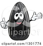 Clipart Of A Cartoon Black Sunflower Seed Character Giving A Thumb Up And Presenting Royalty Free Vector Illustration