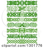 Clipart Of Green Celtic Knot Rule Border Design Elements 2 Royalty Free Vector Illustration