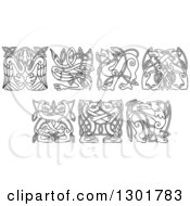 Clipart Of Black And White Celtic Knot Dogs Wolves Herons Storks And Griffins Royalty Free Vector Illustration by Vector Tradition SM