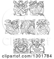 Clipart Of Lineart Celtic Animal Knots Royalty Free Vector Illustration