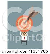 Clipart Of A Flat Modern White Businessman Holding A Target With An Arrow Over Blue Royalty Free Vector Illustration