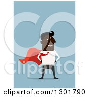 Clipart Of A Flat Modern Black Super Hero Businessman Over Blue Royalty Free Vector Illustration by Vector Tradition SM