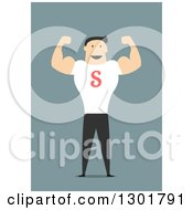 Clipart Of A Flat Modern White Businessman Flexing Over Blue Royalty Free Vector Illustration by Vector Tradition SM