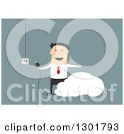 Clipart Of A Flat Modern White Businessman Plugging In To The Cloud Over Blue Royalty Free Vector Illustration