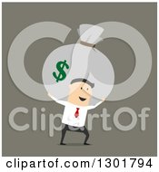 Clipart Of A Flat Modern White Businessman Carrying A Money Sack Over Green Royalty Free Vector Illustration by Vector Tradition SM