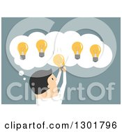 Clipart Of A Flat Modern Creative White Businessman Picking A Light Bulb From A Thought Balloon Over Blue Royalty Free Vector Illustration