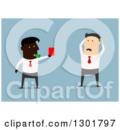 Clipart Of A Flat Modern Black Businessman Firing A White Employee And Giving Him A Red Slip Over Blue Royalty Free Vector Illustration