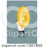Clipart Of A Flat Modern White Businessman Holding A Giant Gold Coin Over Blue Royalty Free Vector Illustration
