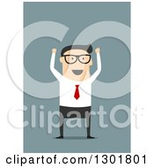 Clipart Of A Flat Modern Bespectacled White Businessman Cheering Over Blue Royalty Free Vector Illustration