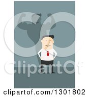 Clipart Of A Flat Modern White Businessman With A Strong Shadow Over Blue Royalty Free Vector Illustration