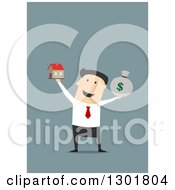 Clipart Of A Flat Modern White Businessman Holding Up A House And Money Sack Over Blue Royalty Free Vector Illustration by Vector Tradition SM