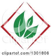Clipart Of A Green Leaf And Red Diamond Vegetarian Food Design Royalty Free Vector Illustration