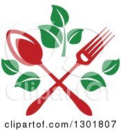 Clipart Of A Crossed Red Fork And Spoon With Green Leaves Vegetarian Food Design Royalty Free Vector Illustration