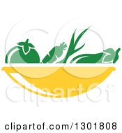 Clipart Of A Yellow Bowl And Green Produce Vegetarian Food Design Royalty Free Vector Illustration
