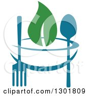Clipart Of A Teal Bowl Silverware And Green Leaf Vegetarian Food Design Royalty Free Vector Illustration