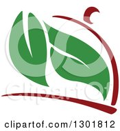 Clipart Of A Maroon Cloche Platter And Green Leaves Vegetarian Food Design Royalty Free Vector Illustration