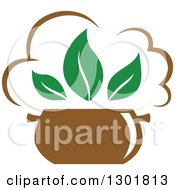 Clipart Of A Soup Pot And Green Leaves Vegetarian Food Design Royalty Free Vector Illustration