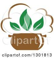 Soup Pot And Green Leaves Vegetarian Food Design
