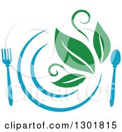 Clipart Of A Blue Plate And Silverware And Green Leaves Vegetarian Food Design Royalty Free Vector Illustration by Vector Tradition SM