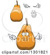 Clipart Of A Face Hands And Pears Royalty Free Vector Illustration