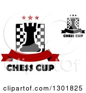 Clipart Of Chess Boards And Rooks With Stars Banners And Text Royalty Free Vector Illustration
