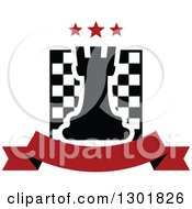 Clipart Of A Chess Board And Rook With Stars Over A Blank Red Banner Royalty Free Vector Illustration by Vector Tradition SM