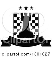 Clipart Of A Chess Board And Rook With Stars Over A Blank Banner Royalty Free Vector Illustration