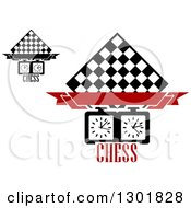 Clipart Of Chess Board Diamonds Blank Banners Timers And Text Royalty Free Vector Illustration
