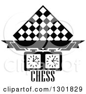 Clipart Of A Black And White Chess Board Diamond Blank Banner Timer And Text Royalty Free Vector Illustration