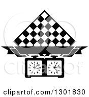 Clipart Of A Black And White Chess Board Diamond Blank Banner And Timer Royalty Free Vector Illustration by Vector Tradition SM