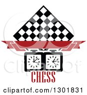 Clipart Of A Chess Board Diamond Blank Red Banner Timer And Text Royalty Free Vector Illustration