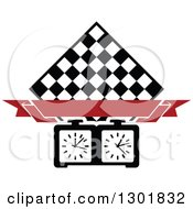 Clipart Of A Chess Board Diamond Blank Red Banner And Timer Royalty Free Vector Illustration