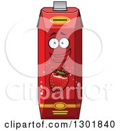 Clipart Of A Smiling Strawberry Juice Carton Character Royalty Free Vector Illustration
