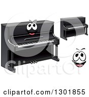 Clipart Of A Cartoon Happy Face And Black Pianos Royalty Free Vector Illustration