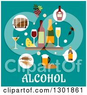 Clipart Of A Flat Modern Design Of Cheese And Alcohol Items On Turquoise Over Text Royalty Free Vector Illustration