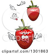Clipart Of Strawberries Hands And A Face 2 Royalty Free Vector Illustration