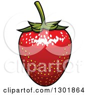 Clipart Of A Red Strawberry Royalty Free Vector Illustration