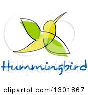 Clipart Of A Sketched Green Hummingbird Over Blue Text Royalty Free Vector Illustration