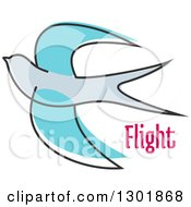 Clipart Of A Sketched Blue Bird And Flight Text Royalty Free Vector Illustration by Vector Tradition SM