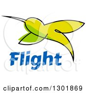 Clipart Of A Sketched Green Hummingbird Over Blue Flight Text Royalty Free Vector Illustration