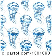 Clipart Of A Seamless Background Pattern Of Blue Jellyfish Royalty Free Vector Illustration by Vector Tradition SM