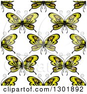 Seamless Pattern Background Of Yellow Butterflies